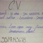 Currículum de Carlos Duarte escrito a mano
