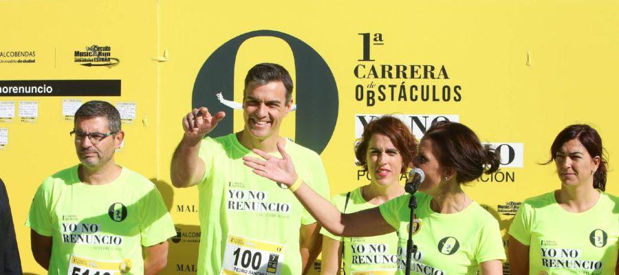 Pedro Sánchez en la Carrera de obstáculos 'Yo no renuncio' por la conciliación