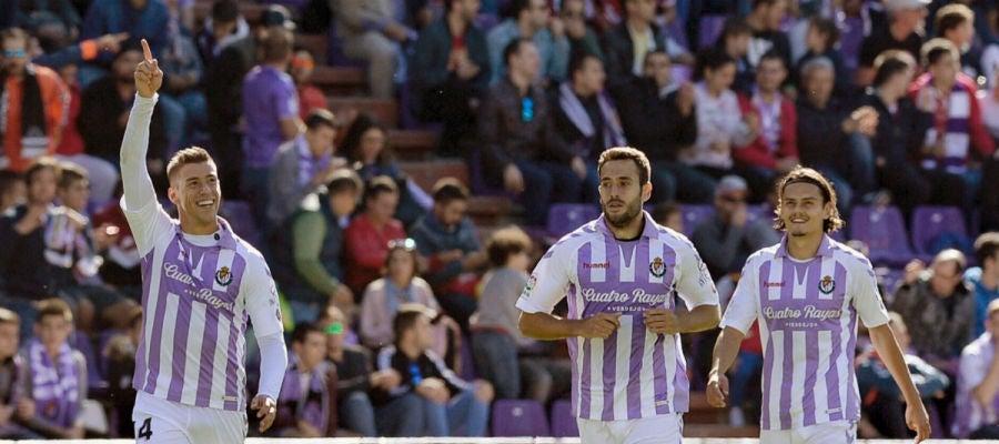El Real Valladolid celebra un gol