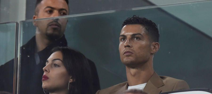 Cristiano Ronaldo, en el palco durante un partido de la Juventus