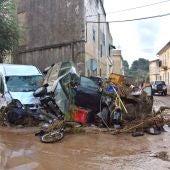 Aspecto de la localidad de Sant Llorenç des Cardassar (Mallorca), tras las inundaciones y el desbordamiento de torrentes