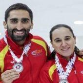 El equipo de Curling de España, que ha ganado la medalla de plata en el Mundial de Curling por equipos mixtos