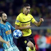 El lateral derecho, Achraf Hakimi, en su partido ante el Atlético.