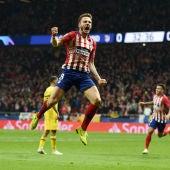 Saúl celebra su gol contra el Dortmund
