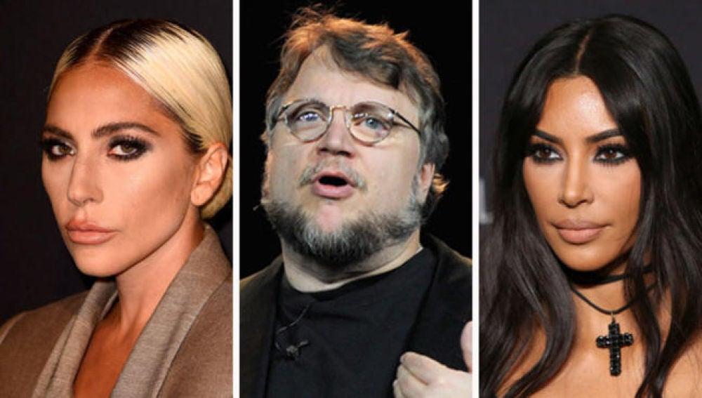 Lady Gaga, Guillermo del Toro y Kim Kardashian