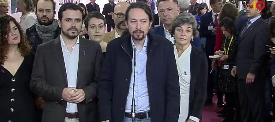 Pablo Iglesias y Alberto Garzón a su llegada a los actos del 40 aniversario de la Constitución