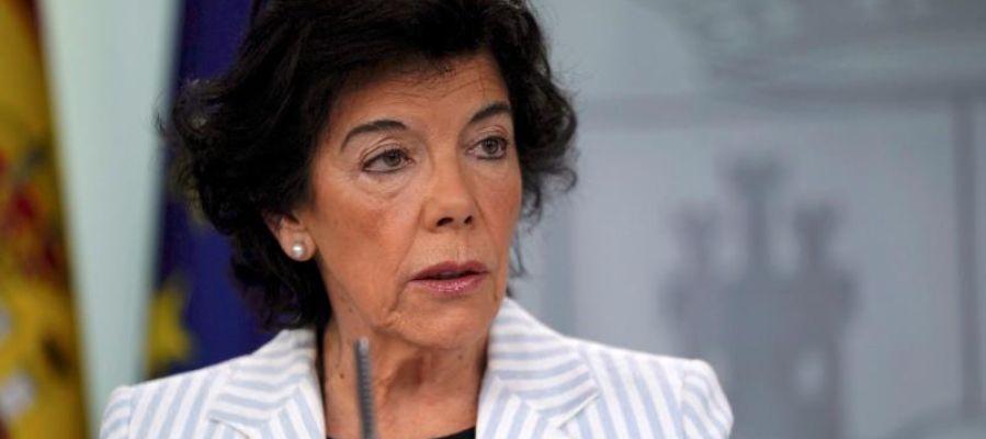 Isabel Celaá durante el Consejo de Ministros