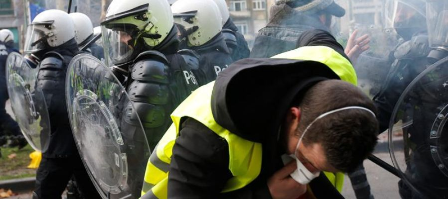 """Manifestación de los """"chalecos amarillos"""" en Bruselas"""