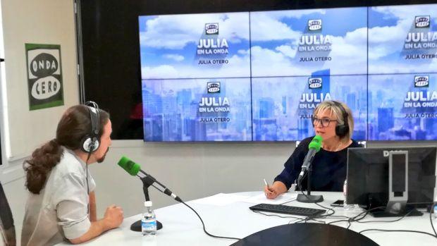 Pablo Iglesias durante la entrevista con Julia Otero