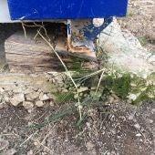 Estado que presenta uno de los tacos sobre los que se apoya un barracón en el colegio La Paz de Torrellano