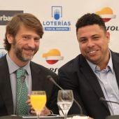 El presidente del Consejo de Administración Del Real Valladolid,Ronaldo Nazário y el consejero delegado del club, Carlos Suárez,presentan el 'Proyecto Real Valladolid.