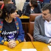 Los líderes de Adelante Andalucía, Teresa Rodríguez, y Antonio Maíllo