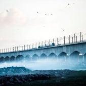 Vista del puente del Gran Belt en Nyborg (Dinamarca).