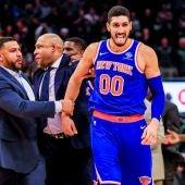 Enes Kanter, en un partido de los New York Knicks