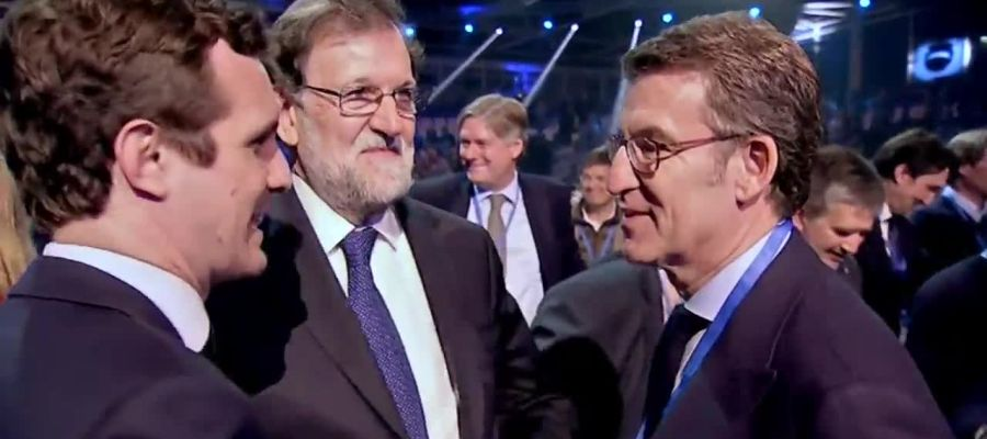 Pablo Casado, Mariano Rajoy y Alberto Núñez Feijóo en la convención del Partido Popular