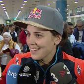 """El espectacular recibimiento a Laia Sanz en el aeropuerto: """"He hecho un muy buen resultado en el Dakar"""""""