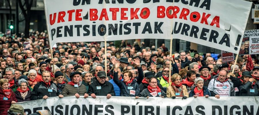 Pensionistas se manifiestan en Bilbao