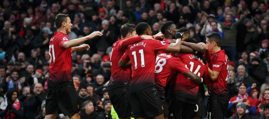 El Manchester United celebra un gol