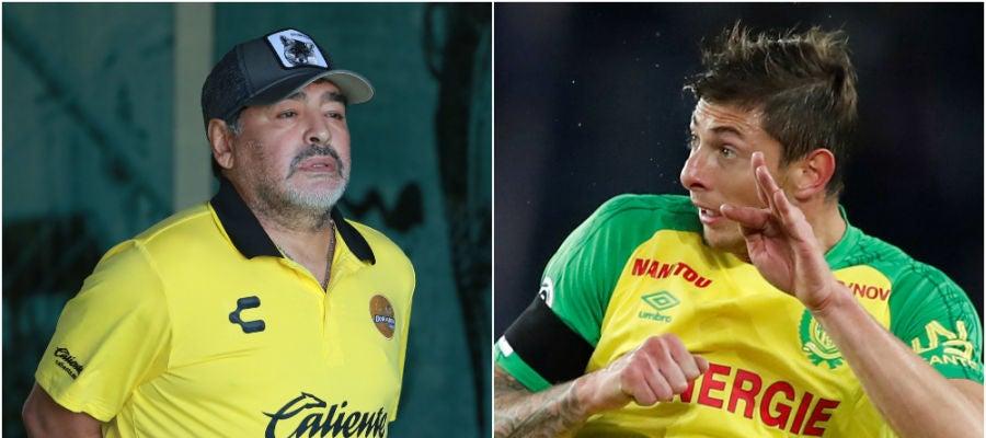 Diego Armando Maradona y Emiliano Sala