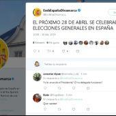 Tweet de la embajada de España en Dinamarca