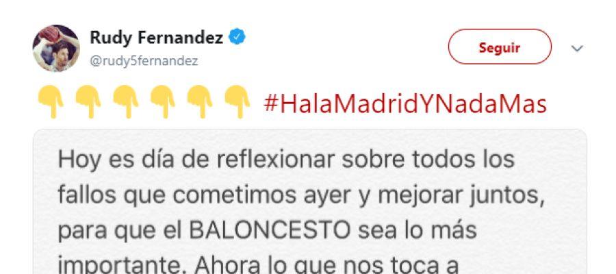 El mensaje de Rudy Fernández en su cuenta de Twitter