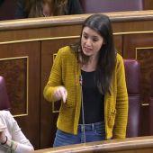 """Irene Montero acusa al Gobierno de aplicar """"en secreto"""" los recortes del PP y Sánchez le reprocha bloquear el Pacto de Toledo"""