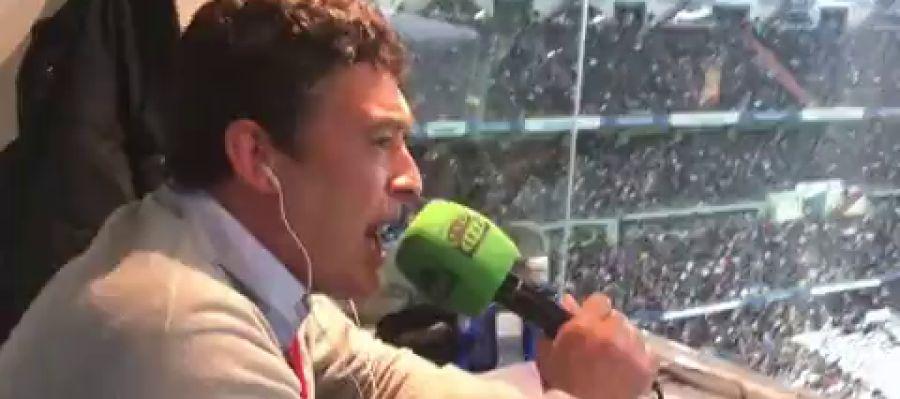 Alfredo Martínez narrando un gol del Barça
