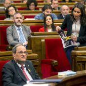 Inés Arrimadas y Quim Torra en el Parlament