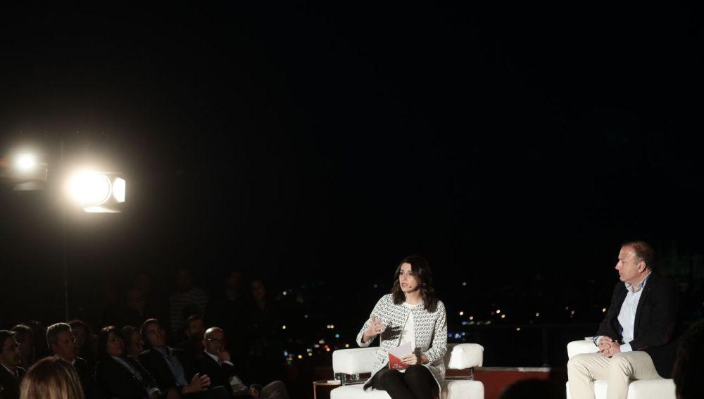 Inés Arrimadas y Joan Mesquida, durante un acto en el Auditorium de Palma