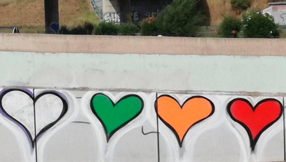 Corazones de la grafitera 'Love pink'