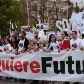 Cabecera de la manifestación convocada en Madrid para concienciar sobre el problema de la despoblación a nivel nacional