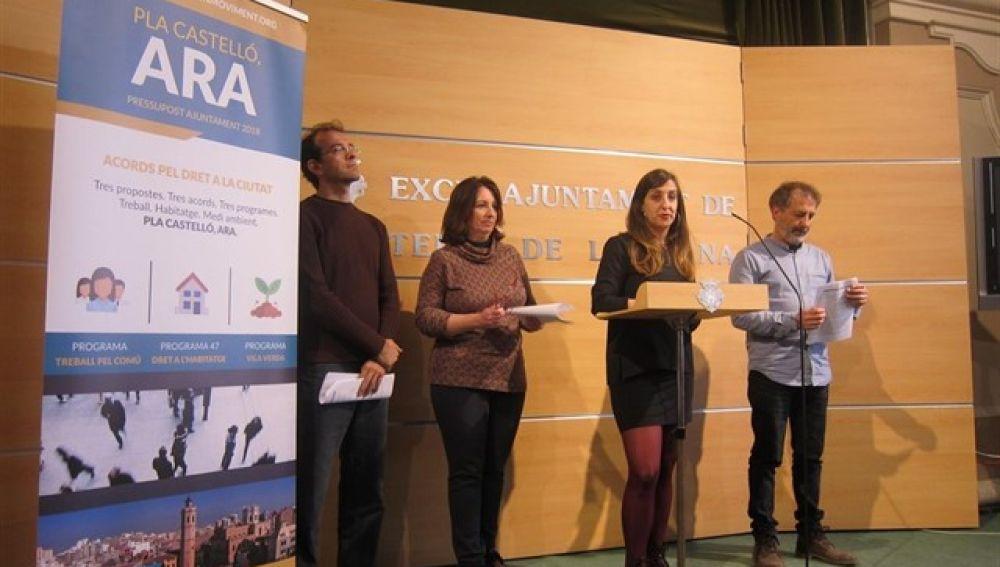 Concejales de Castelló en Moviment en el Ayuntamiento de Castellón.