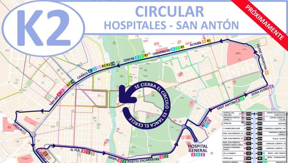 Plano recorrido linea K2 del autobús urbano de Elche