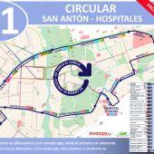 Plano recorrido linea K1 del autobús urbano de Elche
