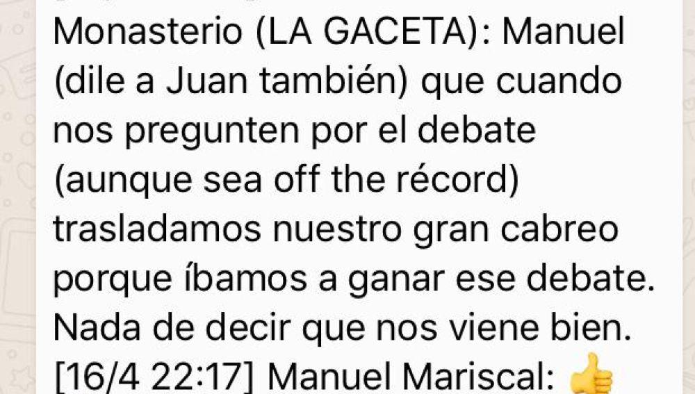 Conversación de Whatsapp entre Méndez Monasterio y Manuel Mariscal de Vox