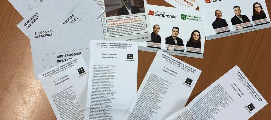 Los sobres que contenían propaganda electoral.