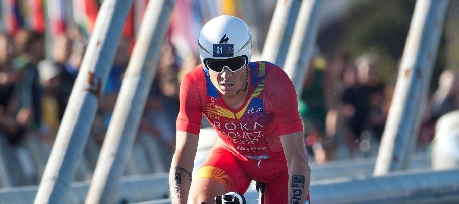 Gómez Noya, en la prueba de ciclismo de triatlón