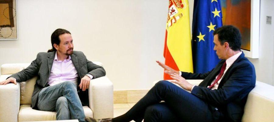 Pablo Iglesias y Pedro Sánchez en Moncloa