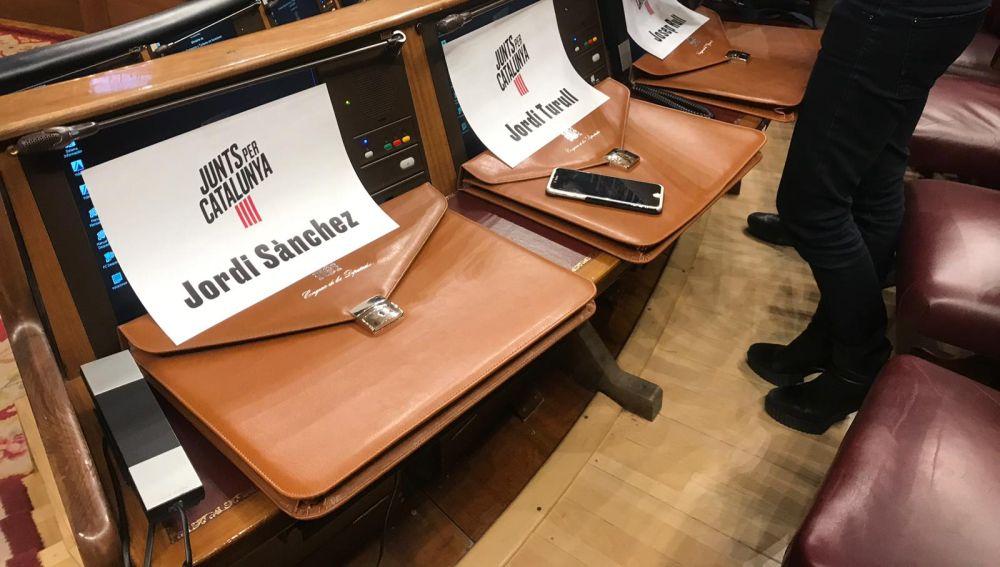 Asientos de tres de los presos preventivos en el Congreso de los Diputados