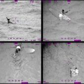 El rescate de una surfista por parte de la Armada de Chile