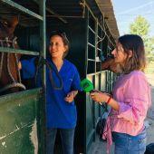 Monica Domínguez, veterinaria de caballos, con Alicia Heras