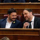 Oriol Junqueras y Gabriel Rufián en el Congreso