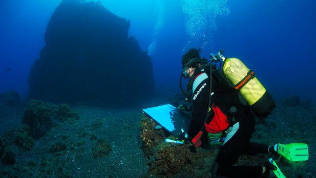 """Alfonso Cruz, el español que pinta bajo el mar: """"Mientras pintaba me ha visitado un tiburón ballena"""""""