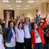Catalina Cladera, Francina Armengol, José Hila y Alicia Homs celebrando la victoria del PSIB el 26M.