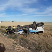 El microbús ha volcado en una carretera cerca de Daimiel