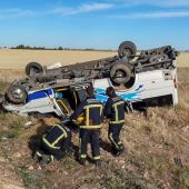 El autobús accidentado en Daimiel