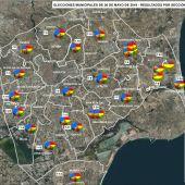 Mapa del Distrito 7 de Elche en las Elecciones Municipales.