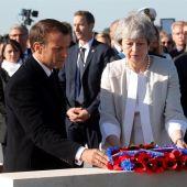 La primera ministra británica, Theresa May, y el presidente francés, Emmanuel Macron