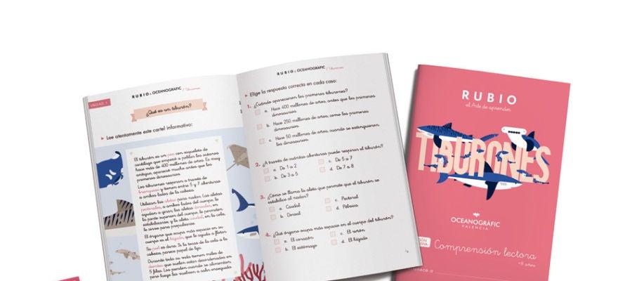 Cuadernos Rubio centrados en los tiburones.