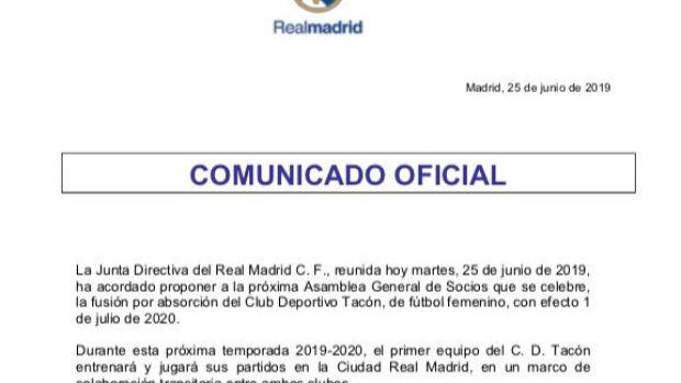 Comunicado Real Madrid